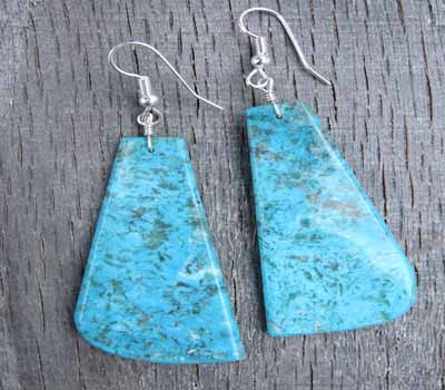 Turquoise Slab Earrings - Kingman Large D