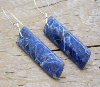 Earrings Sodalite Slab and Sterling