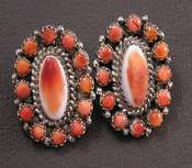 Native American Orange Spiney Oyster Oval Earrings