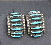 Native American Turquoise Zuni Half Loop Earrings