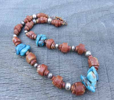 Pipestone and Turquoise Necklace Vermeil
