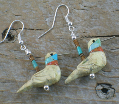 Southwest Jewelry Richolite Hummingbird Earrings