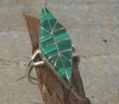Zuni Inlay Malachite Ring - sz 5.75