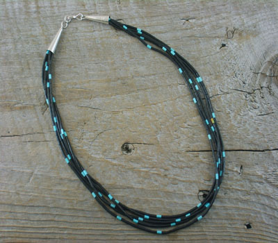 Native American Jewelry Turquoise & Jet 5-strand Necklace