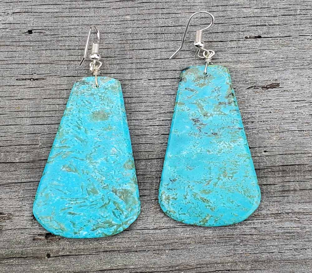Turquoise Earrings Native American Slab Earrings large  AAA2123