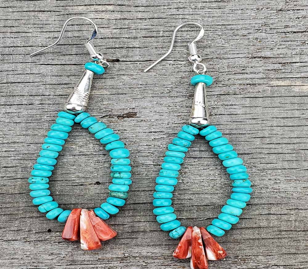 Turquoise Earrings Native American Slab Earrings large  AAA3