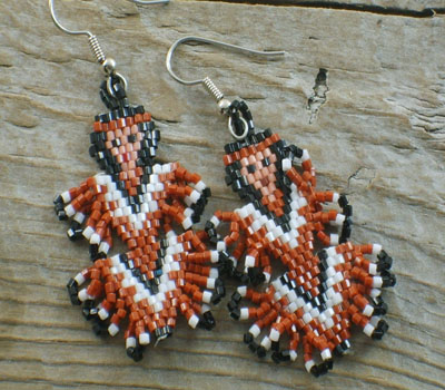 Earrings Native American Beaded Indian