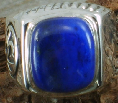 Ring Lapis & Sterling Silver - sz 8