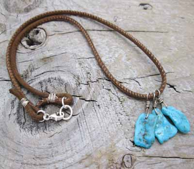 Leather and Morenci Turquoise Nuggets