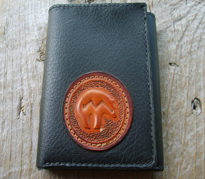Leather Wallet Trifold Handmade in USA Bear Totem