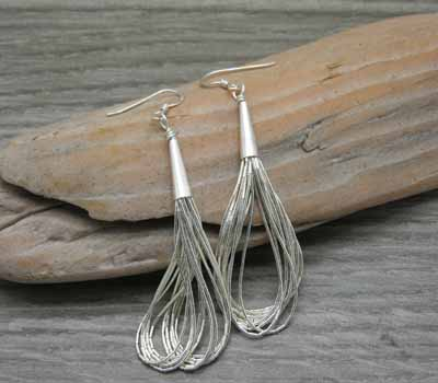 Native American Earrings liquid Silver A