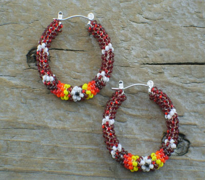 Earrings Native American Beaded Hoops E