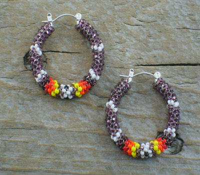 Earrings Native American Beaded Hoops B