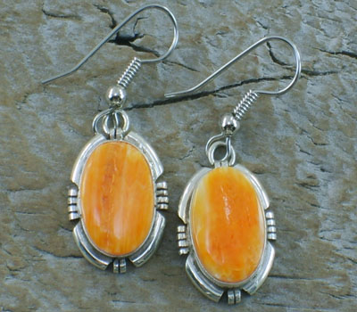 Native American Orange Spiney Oyster Dangle Earrings