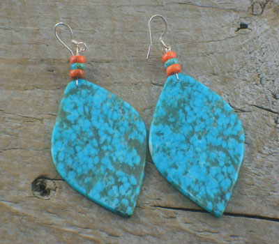 Turquoise Jewelry Native American Slab Earrings Turquoise