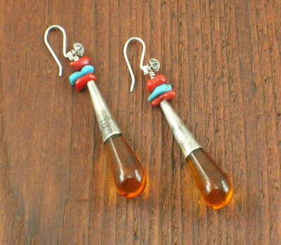 Native American Amber Drop Earrings
