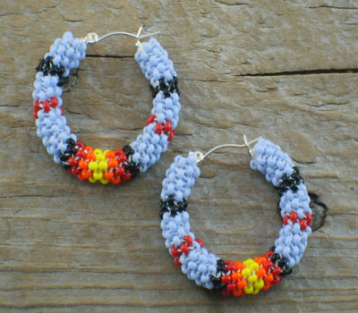 Earrings Native American Beaded Hoops A