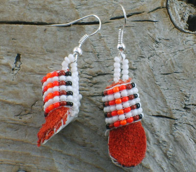 American Indian Beaded Moccasin Earrings A
