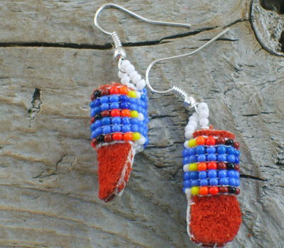 American Indian Beaded Moccasin Earrings C