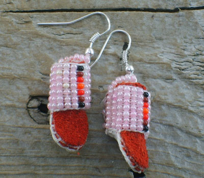 American Indian Beaded Moccasin Earrings E