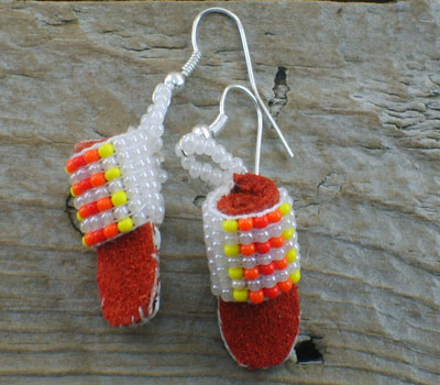 American Indian Beaded Moccasin Earrings F