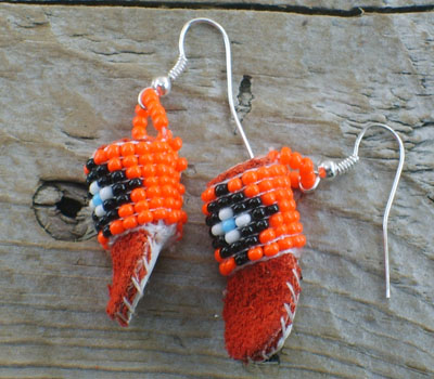 American Indian Beaded Moccasin Earrings D