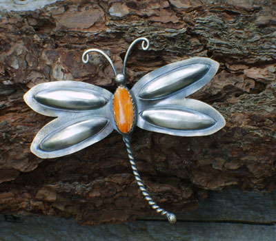 Native American Indian Pin - Orange Spiney Oyster Butterfly