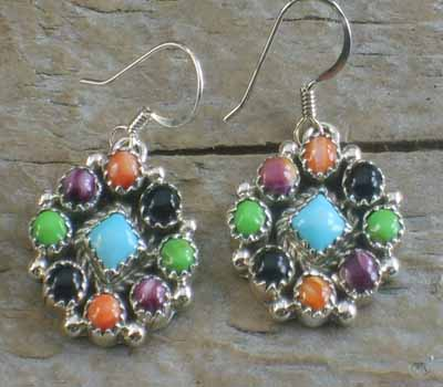Native American Earrings Cluster- Flower A