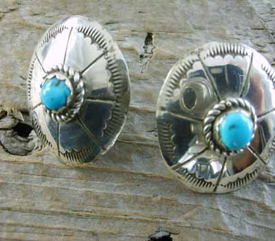 Native American Earrings Sterling & Turquoise Stamped -Concho
