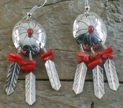Indian Shield & Feather Coral Earrings