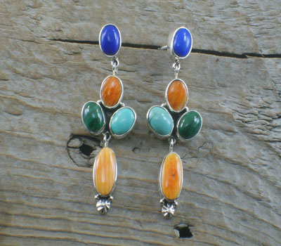 Native American Earrings Multi-Stone Dangles