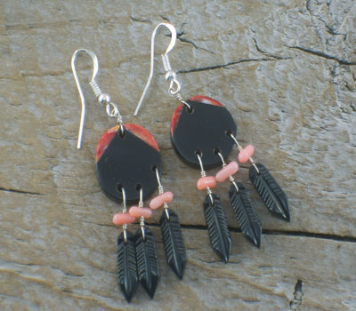 Native American War Shield Feather Earrings Jet