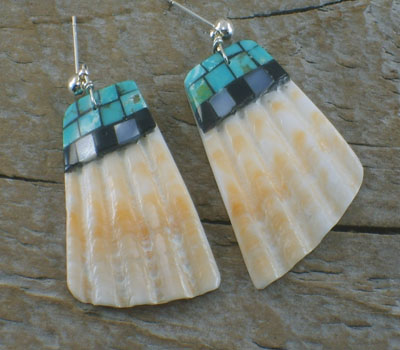 Native American Earrings Spiney Oyster Turquoise Jet Inlay