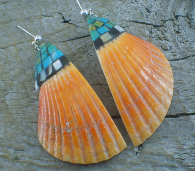Native American Spiney Shell & Turquoise Top Inlay Lrg