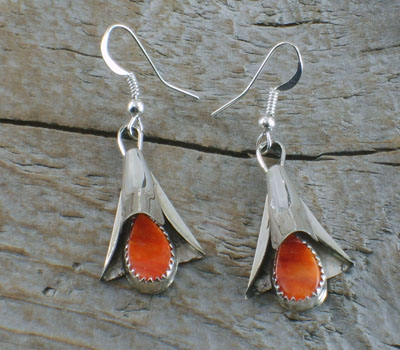 Native American Earrings Silver & Orange Spiney Bell