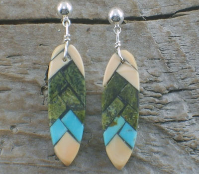 Native American Earring Mosaic Inlay Corn Dangle D