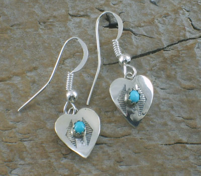 Earrings Native American Turquoise Heart -B