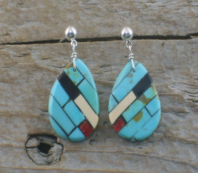 Native American Earring Mosaic Inlay Round dangle A