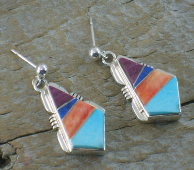 Native American Earrings -Zuni Inlay Diamond
