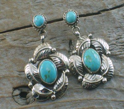 Native American Earrings -Turquoise & Leaf