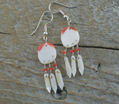 Earrings Native American Shield and Feathers MOP