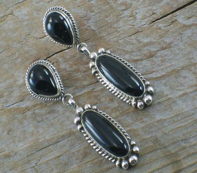 Native American Black Onyx Drop Earrings