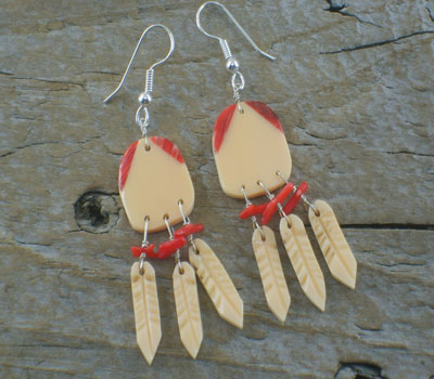 Earrings Native American War Shield Dangles