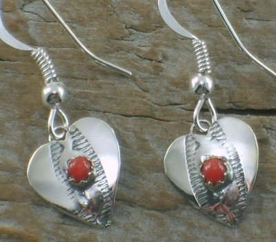Earrings Native American Turquoise Heart Coral