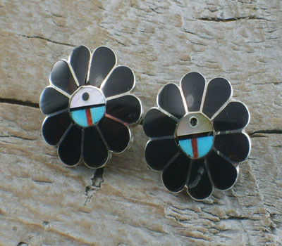 Native American Earring Zuni Jet Sunface Inlay