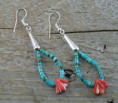 Native American Earrings Santo Domingo Turquoise & Spiny Oyster