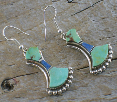 Native American Turquoise Earrings w/  Lapis Inlay Bell shaped