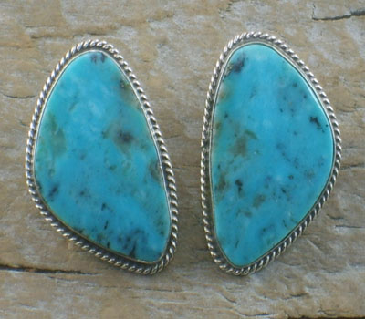 Native American Earrings Turquoise Morenci Clip