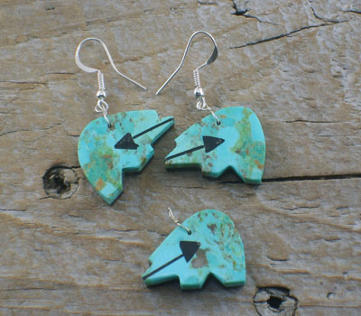 Pendant Earring Set Turquoise Jet Bear Double Sided