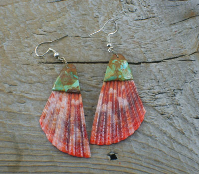 Native American Earrings Shell & Turquoise Top Inlay e